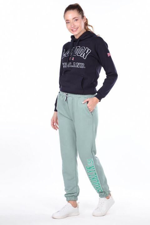 Эластичные зеленые женские спортивные штаны с принтом Brooklyn
