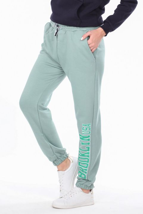 Brooklyn Printed Elastic Green Women's Sweatpants