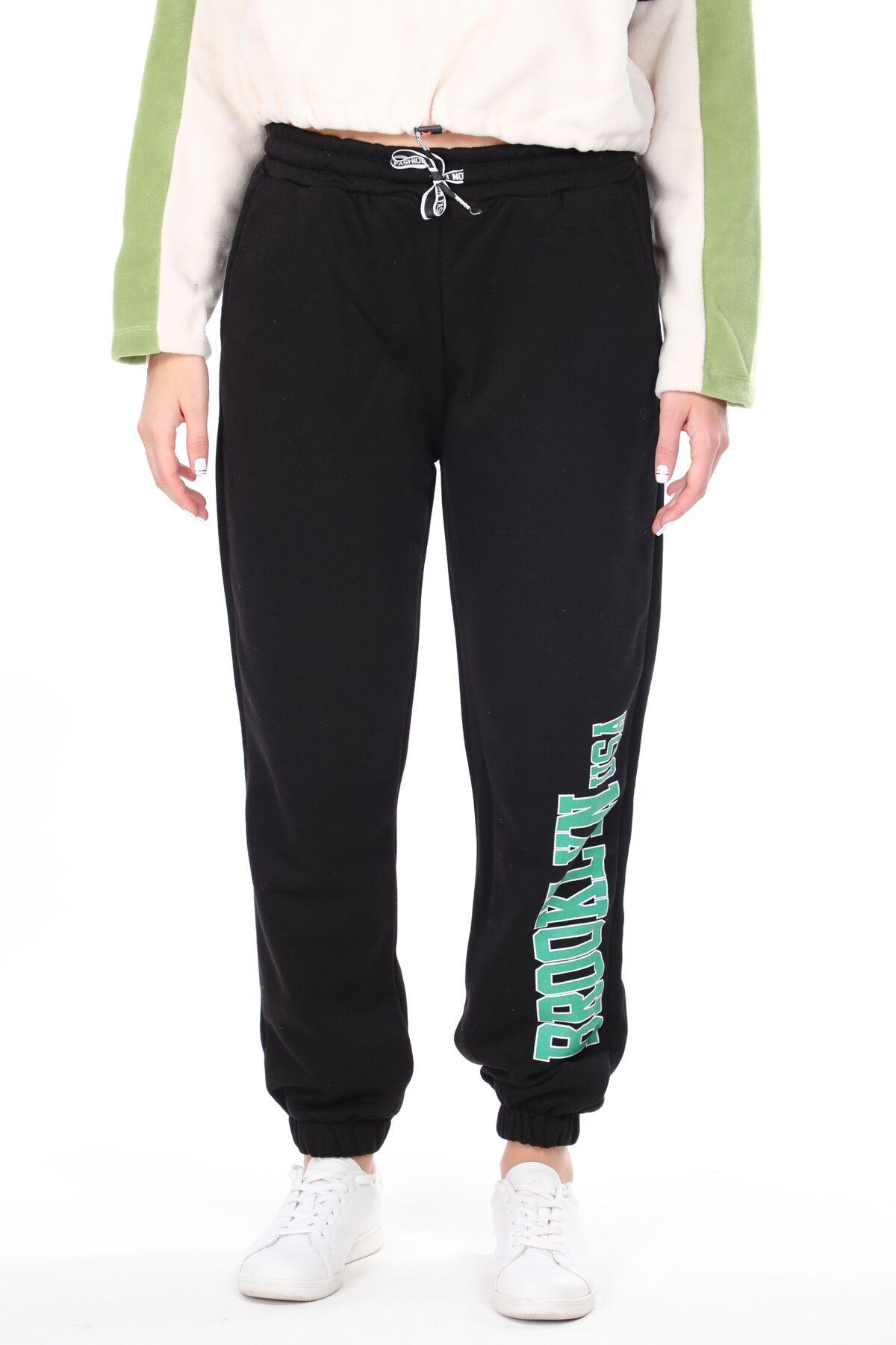 Эластичные черные женские спортивные штаны с принтом Brooklyn