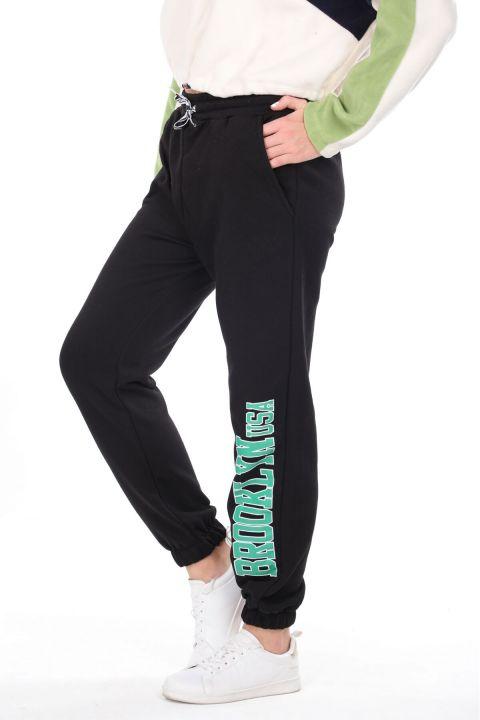 Brooklyn Printed Elastic Black Women's Sweatpants