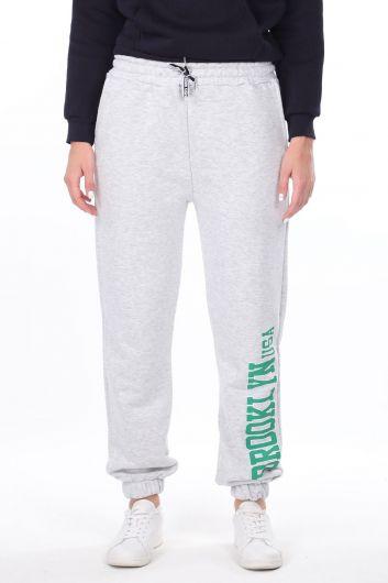 Эластичные серые женские спортивные штаны с принтом Brooklyn - Thumbnail