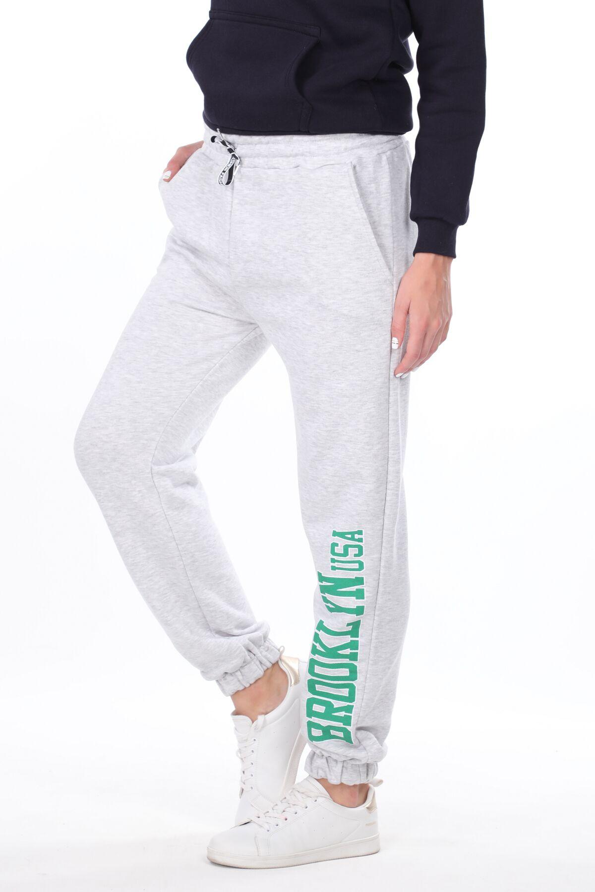 Эластичные серые женские спортивные штаны с принтом Brooklyn