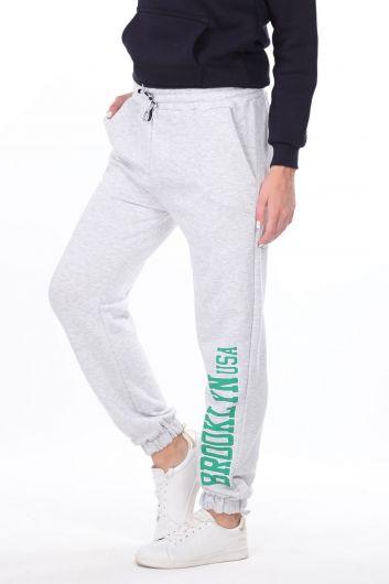 MARKAPIA WOMAN - Эластичные серые женские спортивные штаны с принтом Brooklyn (1)