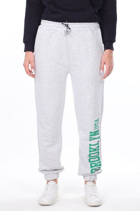 Brooklyn Printed Elastic Gray Women's Sweatpants