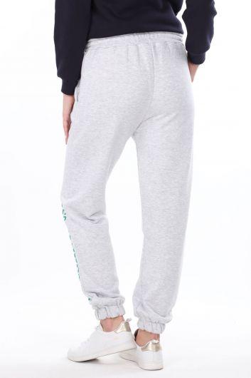 Brooklyn Printed Elastic Gray Women's Sweatpants - Thumbnail