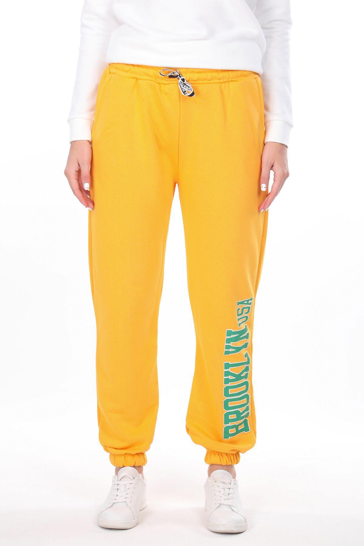 Эластичные желтые женские спортивные штаны с принтом Brooklyn