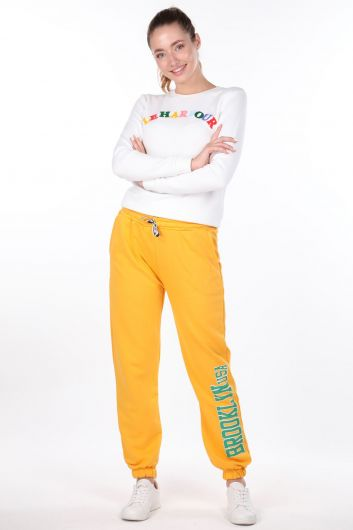 Эластичные желтые женские спортивные штаны с принтом Brooklyn - Thumbnail