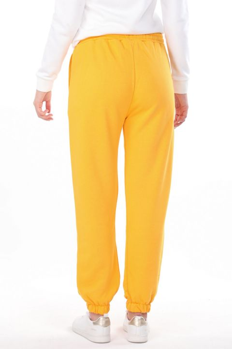 Brooklyn Printed Elastic Yellow Women's Sweatpants