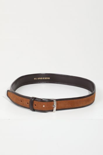 Men's Brown Leather-Striped Suede Belt - Thumbnail