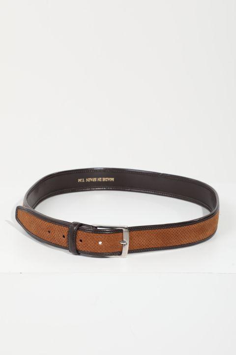 Men's Brown Leather-Striped Suede Belt