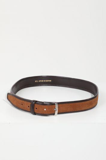 Мужской коричневый замшевый ремень в кожаную полоску - Thumbnail