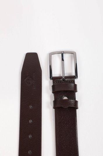 Brown Men's Genuine Leather Belt - Thumbnail