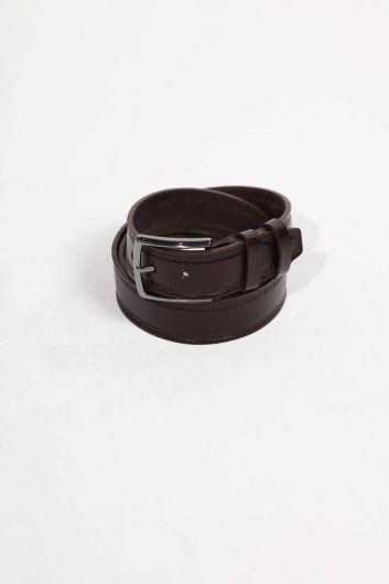 حزام جلد طبيعي بني للرجال - Thumbnail