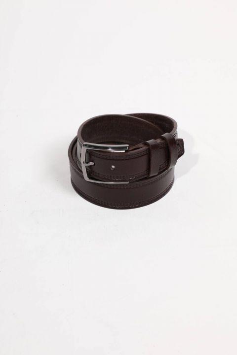 حزام جلد طبيعي بني للرجال