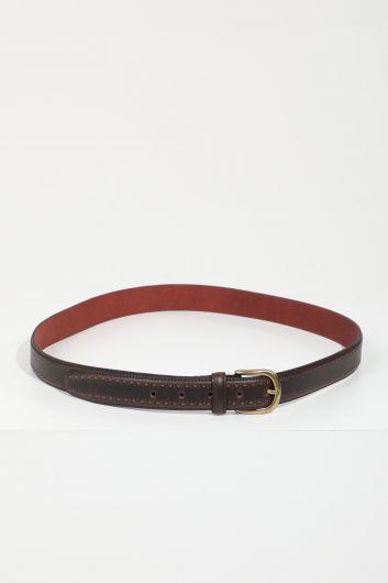 Мужской коричневый кожаный ремень - Thumbnail