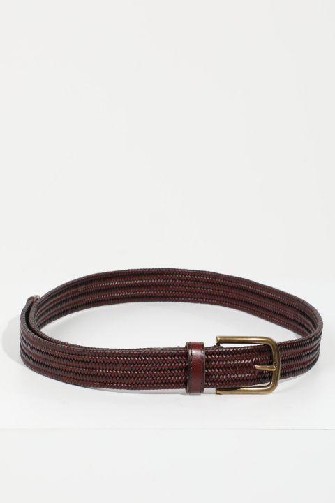 حزام جلد مضفر بني للرجال