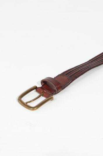 MARKAPIA MAN - حزام جلد مضفر بني للرجال (1)