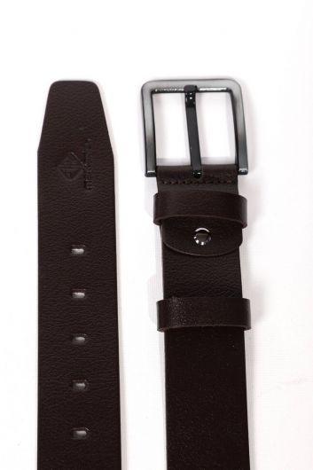 حزام جلد طبيعي للرجال باللون البني - Thumbnail