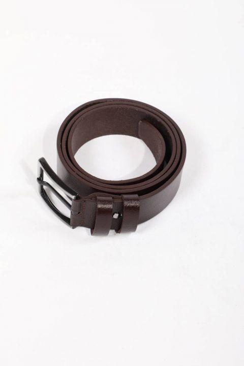 حزام جلد طبيعي للرجال باللون البني