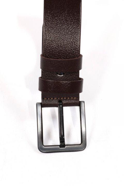 Brown Printed Men's Genuine Leather Belt