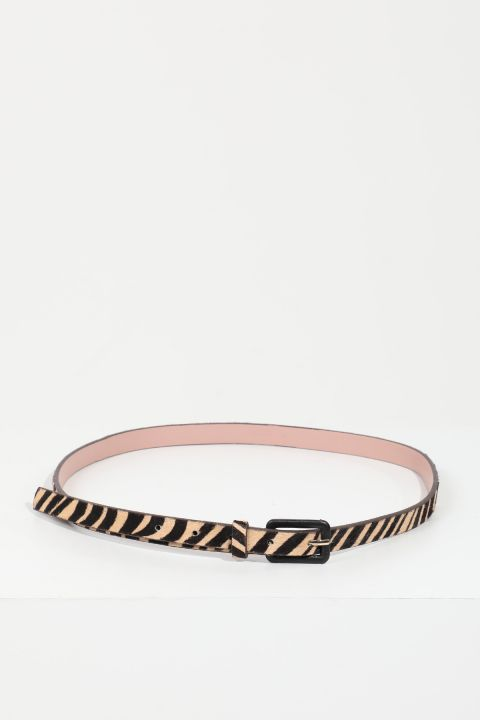 Women's Brown Striped Leather Belt