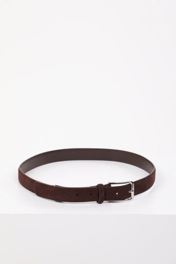 حزام جلد سويدي بني للرجال - Thumbnail