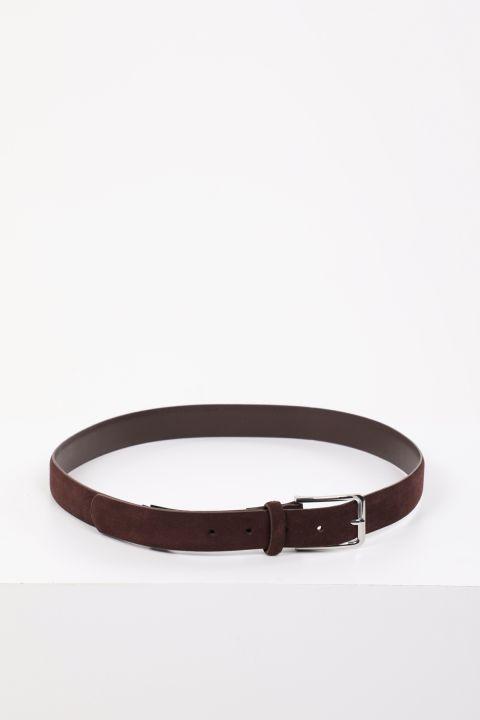 حزام جلد سويدي بني للرجال