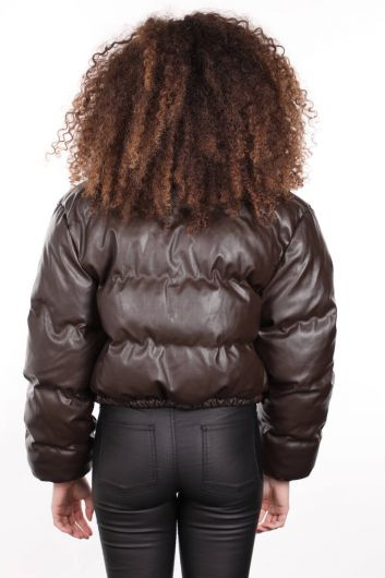 MARKAPIA WOMAN - Коричневый короткий женский кожаный пуховик на молнии (1)