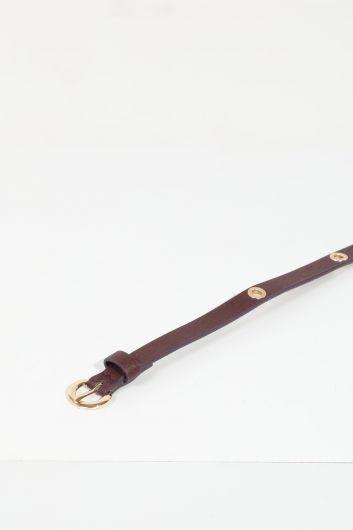 MARKAPIA WOMAN - حزام جلد عين الطير عنابي للسيدات (1)