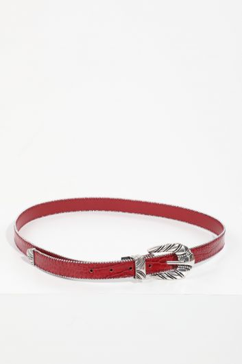 حزام جلد حجري بنمط جلد التمساح عنابي للنساء - Thumbnail