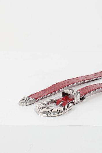 Women's Burgundy Crocodile Pattern Stony Leather Belt - Thumbnail