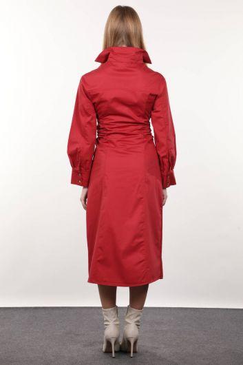 فستان نسائي بورجوندي جانبي - Thumbnail