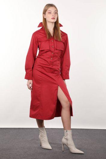 Бордовое женское платье со сборками сбоку - Thumbnail