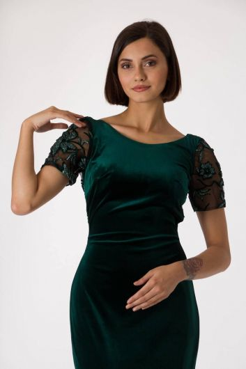 Shecca By Dayi - Short Sleeve Velvet Green Evening Dress (1)