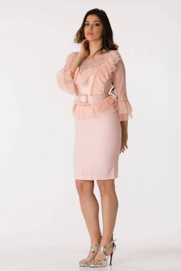 shecca - Pink Tulle Detailed Belted Evening Dress Suit (1)