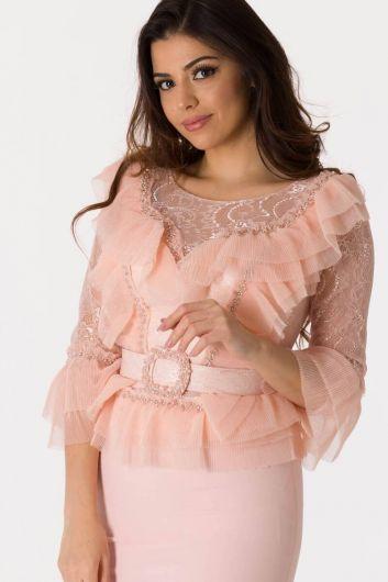 Розовый вечерний костюм с поясом и поясом из тюля - Thumbnail