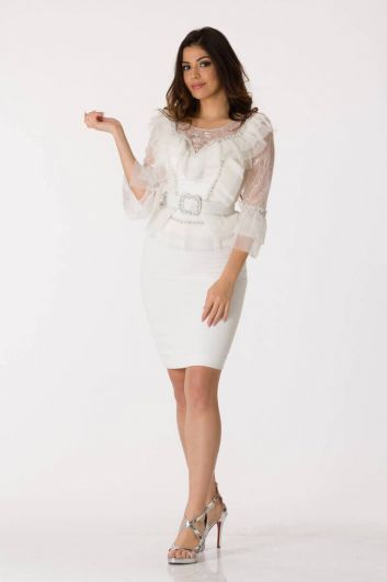 Shecca By Dayi - White Tulle Detailed Belted Evening Dress Suit (1)