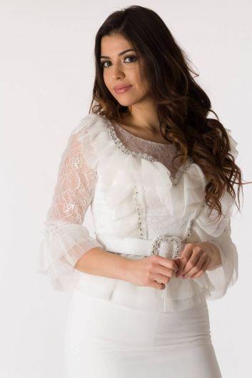 Белый вечерний костюм из тюля с поясом и поясом - Thumbnail