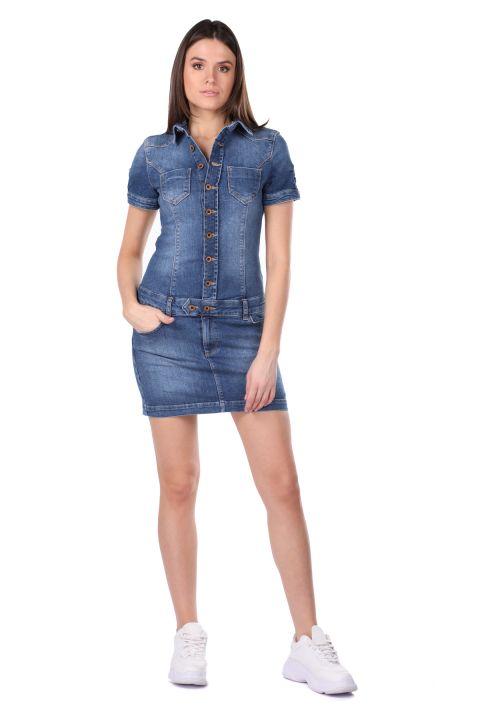 Women's Buttoned Jean Dress