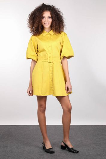 Buttoned Balloon Sleeve Women Dress - Thumbnail