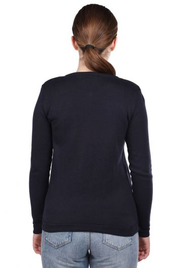 MARKAPIA WOMAN - Navy Buttoned Short Women's Knitwear Cardigan (1)