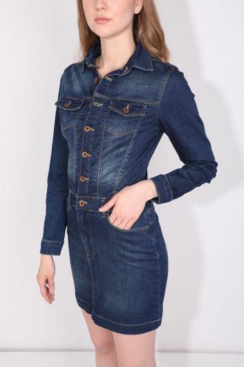 فستان جينز نسائي نيلي مزرر - Thumbnail