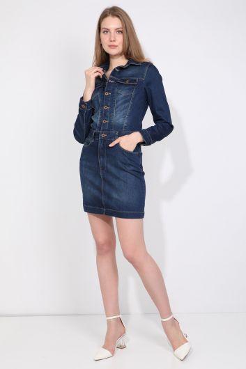 Женское джинсовое платье цвета индиго на пуговицах - Thumbnail