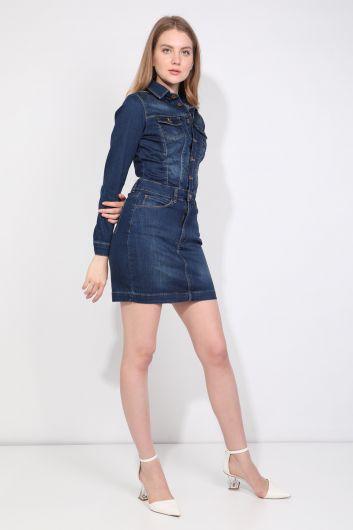 MARKAPIA WOMAN - Женское джинсовое платье цвета индиго на пуговицах (1)