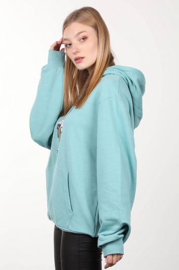 MARKAPIA WOMAN - Ice Green Printed Hooded Oversized Sweatshirt (1)