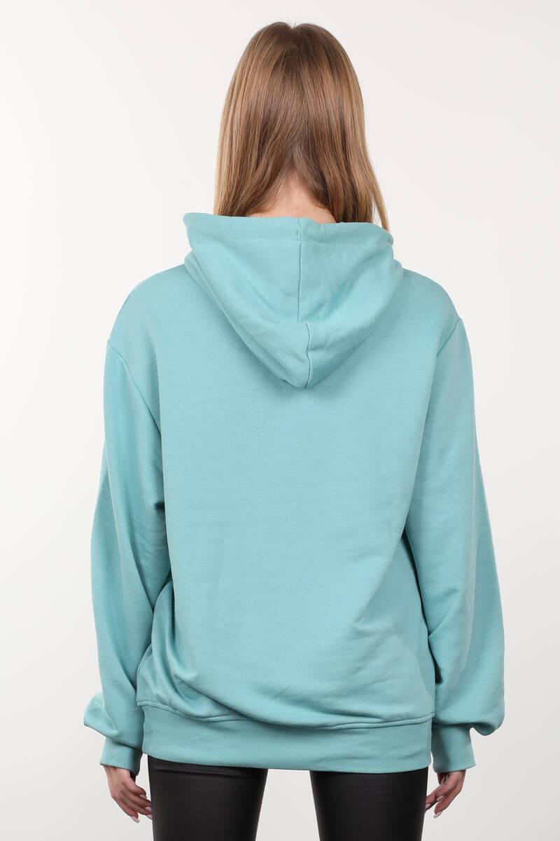 Buz Yeşili Baskılı Kapüşonlu Oversize Kadın Sweatshirt