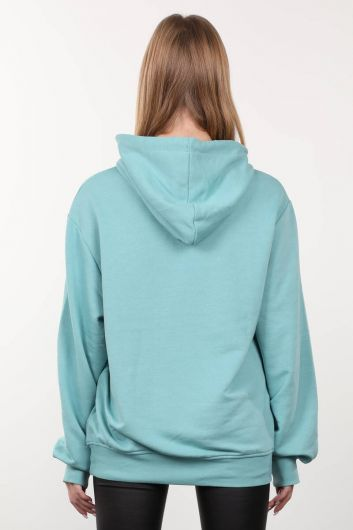Buz Yeşili Baskılı Kapüşonlu Oversize Kadın Sweatshirt - Thumbnail