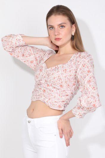 MARKAPIA WOMAN - Markapia Büzgü Detaylı Çiçekli Bluz (1)