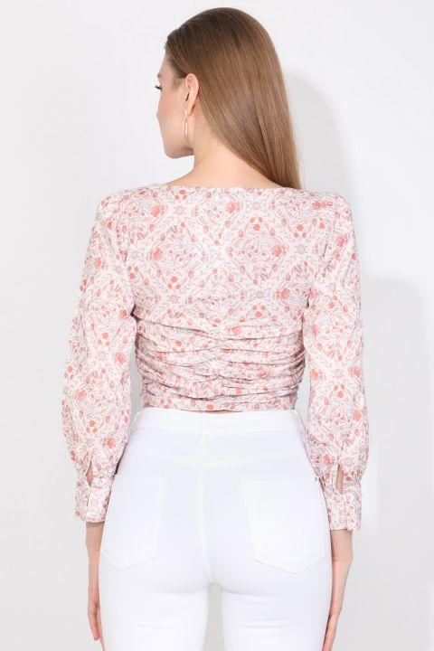 Markapia Büzgü Detaylı Çiçekli Bluz