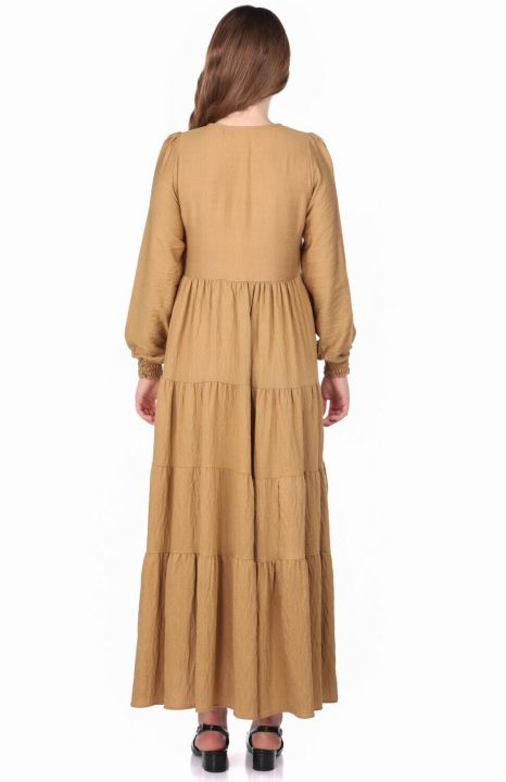 Büzgülü Uzun Düz Elbise